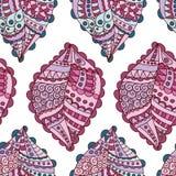 Naadloos patroon met kleurrijke krabbelbladeren Royalty-vrije Stock Foto