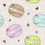 Naadloos patroon met kleurrijke makarons Vector in de illustratie van de schetsstijl Royalty-vrije Stock Afbeeldingen