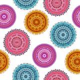 Naadloos patroon met kleurrijke mandalas Stock Foto