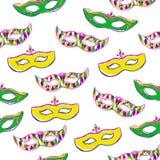 Naadloos patroon met kleurrijke maskers op wit Stock Foto