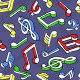 Naadloos patroon met kleurrijke muzieknota's Stock Foto's