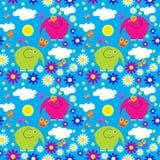 Naadloos patroon met kleurrijke olifanten op een achtergrond van clou Royalty-vrije Stock Fotografie