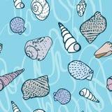 Naadloos patroon met kleurrijke overzeese schepselen stock illustratie