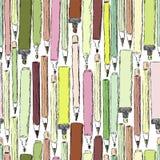 Naadloos patroon met kleurrijke potloden en tellers op witte achtergrond Royalty-vrije Stock Foto