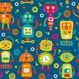 Naadloos patroon met kleurrijke robots op blauwe achtergrond royalty-vrije illustratie