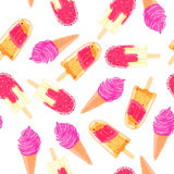 Naadloos patroon met kleurrijke roomijskegel en ijslolly De zomertextuur Royalty-vrije Stock Foto
