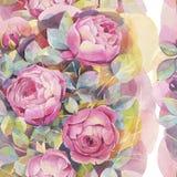 Naadloos patroon met kleurrijke rozen Romantisch behang Hand geschilderde Waterverf botanische illustratie stock illustratie