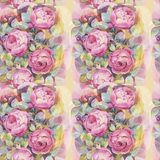 Naadloos patroon met kleurrijke rozen Romantisch behang Hand geschilderde Waterverf botanische illustratie royalty-vrije illustratie