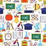 Naadloos patroon met kleurrijke schoolpictogrammen Stock Fotografie