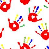Naadloos patroon met kleurrijke vingers Stock Foto's