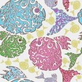 Naadloos patroon met kleurrijke vissen. stock illustratie