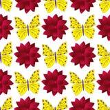 Naadloos patroon met kleurrijke vlinders en grote rode dahlia's royalty-vrije illustratie