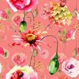 Naadloos patroon met kleurrijke wilde bloemen royalty-vrije stock afbeeldingen