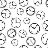 Naadloos patroon met klok Vector illustratie stock illustratie