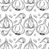 Naadloos patroon met knoflook Organisch gezond voedsel Vegetarische voeding stock illustratie