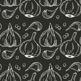 Naadloos patroon met knoflook Organisch gezond voedsel Vegetarische voeding royalty-vrije illustratie