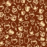 Naadloos patroon met koffiekoppen Royalty-vrije Stock Afbeeldingen