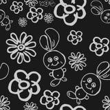 Naadloos patroon met konijnen en bloemen Stock Foto's