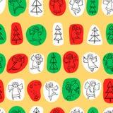 Naadloos patroon met krabbel het dansen engelen en pijnboombomen en s vector illustratie