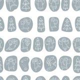 Naadloos patroon met krabbel het dansen engelen en pijnboombomen en s royalty-vrije illustratie