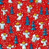 Naadloos patroon met krabbel het dansen engelen en pijnboombomen win stock illustratie