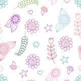 Naadloos patroon met krabbelbloemen Royalty-vrije Stock Fotografie