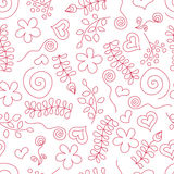 Naadloos patroon met Krabbelbloemen en bladeren Stock Afbeeldingen