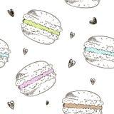 Naadloos patroon met krabbelmakarons De vectorachtergrond van de schetsstijl Royalty-vrije Stock Fotografie