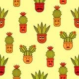 Naadloos patroon met krabbelsansevieria en cactussen stock illustratie
