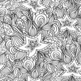 Naadloos patroon met krabbelzeesterren en zeewieren in zwart wit voor het kleuren van pagina Stock Afbeeldingen