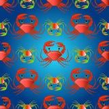 Naadloos patroon met krabben op de kleurengolven Stock Afbeelding