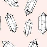 Naadloos patroon met kristalgem In hipsterachtergrond Stock Afbeelding