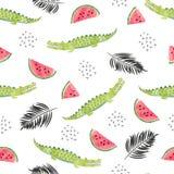 Naadloos patroon met krokodillen, watermeloenplakken en palmbladen stock illustratie