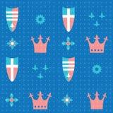 Naadloos patroon met kronen en schilden Stock Afbeeldingen