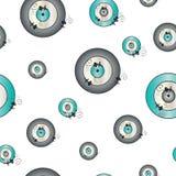 Naadloos patroon met kwaad oog in grijze en turkooise kleurenvector stock illustratie