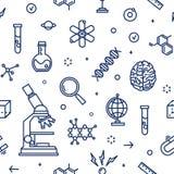Naadloos patroon met laboratoriummateriaal, attributen van wetenschap, wetenschappelijk die experiment, onderzoek met contour wor stock illustratie
