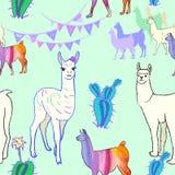 Naadloos patroon met lama's en cactus Mannetje en Wijfje stock illustratie