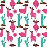 Naadloos patroon met lama in sombrero, cactus en hand getrokken elementen Creatieve kinderachtige textuur Groot voor stof, textie vector illustratie