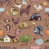Naadloos patroon met landbouwbedrijf verwante punten Royalty-vrije Stock Foto's