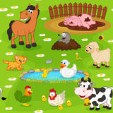 Naadloos patroon met landbouwbedrijfdieren Stock Afbeelding