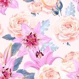 Naadloos patroon met lelies en rozen stock illustratie