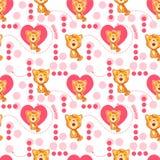Naadloos patroon met leuk beeldverhaalkat en hart Het patroon van de baby Stock Foto