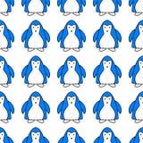 Naadloos patroon met leuk blauw pingu?ndier Eindeloze textuur met grappige polaire de wintervogel Behangontwerp met royalty-vrije illustratie