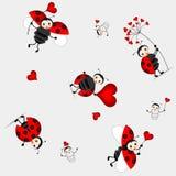 Naadloos patroon met leuk onzelieveheersbeestje - vector Stock Afbeelding