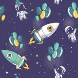 Naadloos patroon met leuke astronauten en raketten op ballons in ruimte vector illustratie