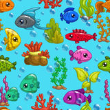 Naadloos patroon met leuke beeldverhaalvissen Royalty-vrije Stock Foto's