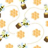Naadloos patroon met leuke bijen en honingraat Vector Illustratie
