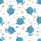 Naadloos patroon met leuke blauwe vinvissen vector illustratie
