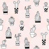 Naadloos patroon met leuke cactus en hand getrokken texturen Perfectioneer voor stof, textiel Het kan voor prestaties van het ont royalty-vrije illustratie