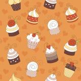 Naadloos patroon met leuke cupcakes Stock Foto